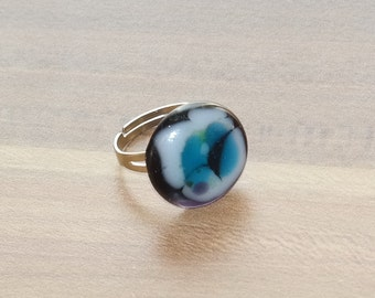 Ring, Adjustable Glass Fusion Ring, gift for her