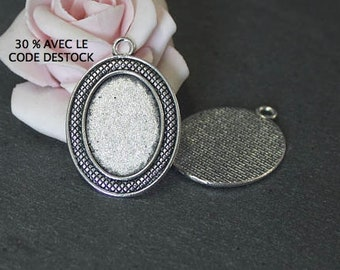 4 Oval Pendant holders 39 x 27 mm antique silver cabochon 18 x 24 mm SPA31