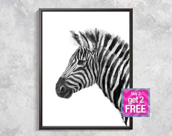 Zebra Print, Zebra watercolor Art, Safari art, Animal Art, Animal Wall Decor, animal print, white and black printable art, zebra artwork