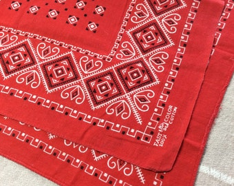 Vintage 1950's Elephant trunk up Red Bandana 16.5x16.5 small Fast Color Square geometric abstract print cotton selvedge #6