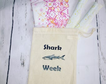 Shark Week Tampon Case, Sanitary Pad Holder, Tampon bag, Period Pouch