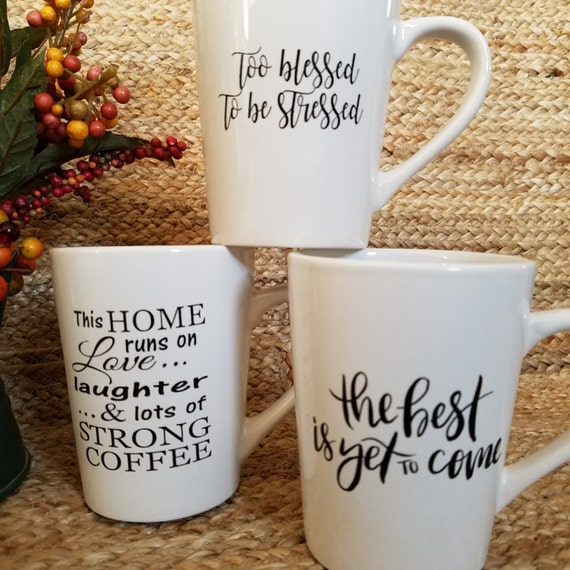 Fun Quote Coffee Tea Mugs 14oz Mug coffee mug coffee cup tea cup quote saying Choose your favorite love laughter blessed best is yet to come