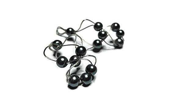 Dangle Earrings from Coated Steal Wire with Beads
