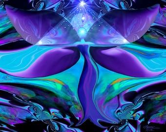 "Angel Art, Reiki Wall Decor, Teal Purple Energy Art ""Pyramid Healer"""