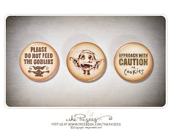 A set of 3 ROUND MAGNETS featuring Eric the goblin and some wise warnings that should always accompany the likes of him...(1 inch magnets)