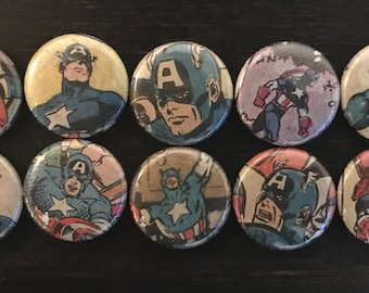 Captain America Magnets, Cap, Captain America, Magnets, Comic Book Magnets, Round Magnets, One Inch, Superhero Magnets, Magnet Sets, Marvel
