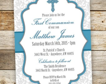 Baptism Invitation Boy - First Communion Boy Invitations - Boy Christening Invitation - Cross Invitation - Confirmation Invite - Printable