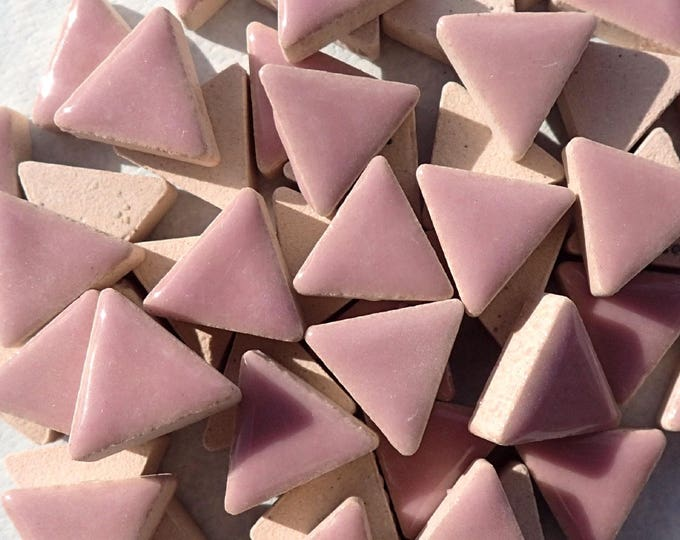 Mauve Mini Triangles Mosaic Tiles - 50g Ceramic - 15mm in Dark Rose Pink