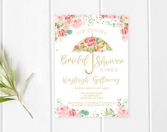 Bridal Shower Invitation, Umbrella Bridal Shower Invite, Pretty Bridal Shower Invite, Printable Bridal Shower Invite, Floral Shower [720]