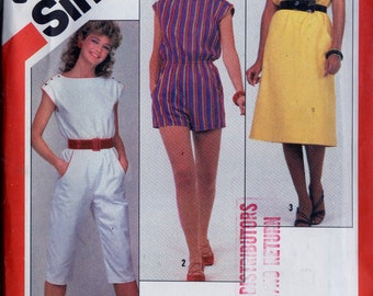 Vintage 80s Sewing Pattern Simplicity 5922 Women's Pull-On Jumpsuit or Romper and Pullover Dress Sz. 10-12-14 Uncut