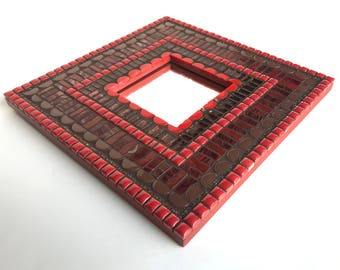 Mosaic Mirror, small wall mirror in red and brown, small decorative mirror