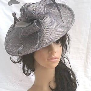 Graphite grey sparkle Feather Fascinator..Stunning shaped Fascinator on a Headband..