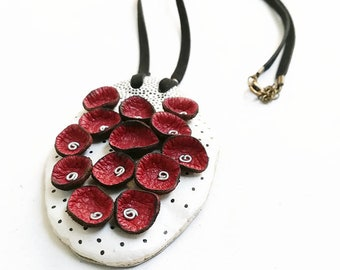Bib Necklace, Handmade necklace,Red leather,  Personalized neklace,Genuine leather,  statement leather,Clay necklace