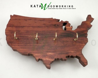United States of America Wood Cut-out Key Holder - Wall Mount - Handmade!