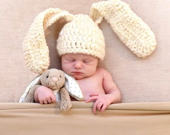 Bunny Easter Rabbit Floppy Long Ears Animal Carrot Food Infant Newborn Baby Outfit Beanie Hat Toy Amigurumi Crochet Photography Photo Prop