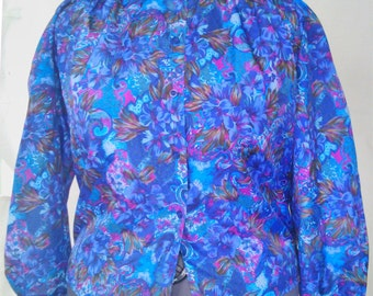 Vintage size 18 Blue Purple Polyester Blouse