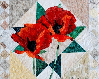 Quilt Pattern - Poppies Applique Art Quilt Pattern