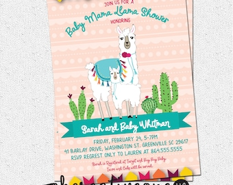 Baby Shower Mama Llama Invitation, Mexican Fiesta, Printable DIY digital file