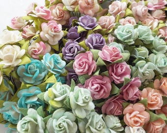 """100! Paper Roses, Mulberry Paper Roses, Card Making, Rose Embellishments, Paper Flowers, Scrapbook Rose, Pastel Paper Rose Mix, 10-15mm/0.5"""""""