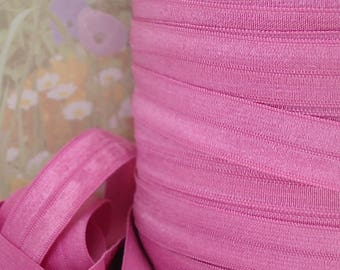Elastic Ribbon Pink Fold Over 5/8 inch Stretch Sewing Trim diy bra making supplies Garter Headband Lingerie Elastic by the 5 yard for Crafts