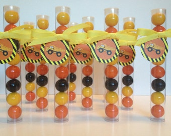 Construction theme Gumball Tube Party Favors, set of 12, with Tags and ribbon