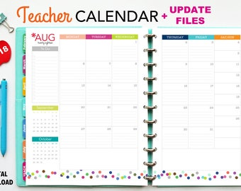 2018 Teacher Planner Calendar, PDF Printable Pages, Inserts - January 2018-December 2018, Printable Covers, Dividers, Teaching, Australia