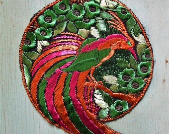 Vintage Applique 1920s 1930s Large Sew On Fabric Applique Trim Bird of Paradise Motif 20s 30s Art Deco era antique green pink rust orange