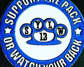 Support The Pack Wolf Pack Supporter Motorcycle Club Patch White Wolf Brotherhood 100mm Biker Knuckle Duster badge