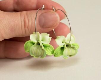 Green Orchid Earrings. Green flower earrings. Orchid Flower hoops earrings Polymer clay jewelry. Tropical flower Earrings Hoop Green jewelry