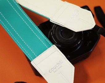 Sea Foam Blue Vintage Camera Strap, Handmade Pastel