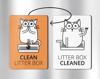 Reversible cat litter reminder magnet: cat litter box, cat accessories, cat magnets, cat gifts, cat gift for women, cat lover gift