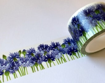 SALE New Wide Roll Floral Washi Tape 'CORN FLOWERS' From MechaKucha808  25mm x 10 meters