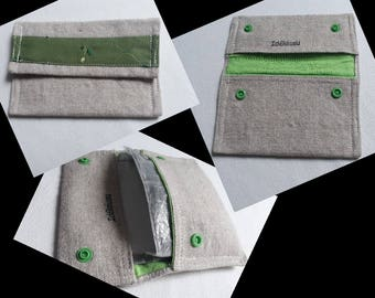 Tobacco pouch simple beige and green