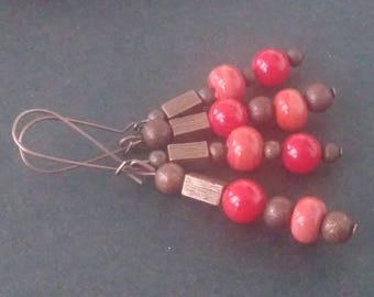 Adjustable copper earrings - red coral - spun glass