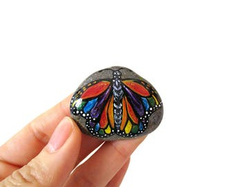 Butterfly Painting, Rainbow Art, Hand Painted Beach Stone, Keepsake Gift, Insect Lover, Original Painting, Decorative Rock