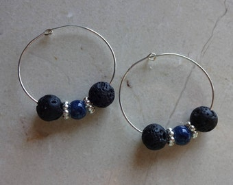 Black lava stone diffuser earrings - Blue