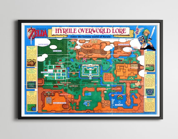 1992 legend of zelda a link to the past hyrule map poster like this item gumiabroncs Images