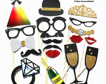 Photobooth Props - Photo Booth Props 18 Piece GLITTER Set - Wedding Party Favor Photo Props - Birthday