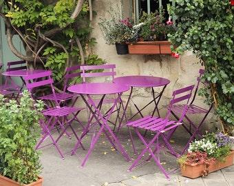 Purple Cafe Chairs on ile de la cite, Paris Cafe, French Wall Art, Eggplant Purple, French Kitchen Art, Paris Oasis