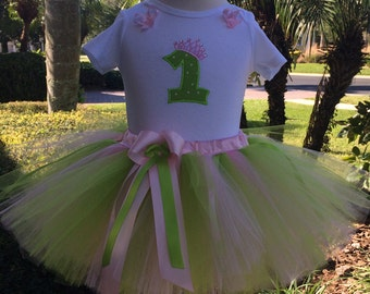 Green and Pink Number 1 Baby Girl 1st Birthday Outfit,1st Birthday Girl Outfit, One Year Old Girl Birthday Outfit,1 Year Old Birthday Girl