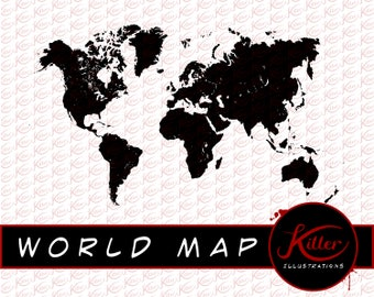 world map vector clip art earth cut file instant digital download
