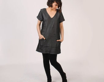 Black Striped Chambray Tunic with Deep Pockets