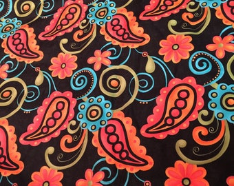 Quilting cotton Sassy by Sandy Gervais for Moda black, green, orange,blue 3 Yards