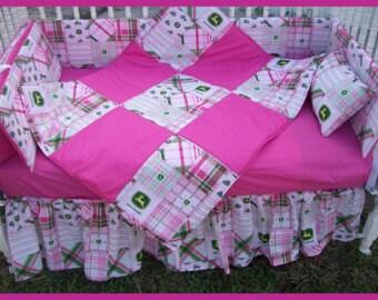 New 7 piece JOHN DEERE baby Crib Bedding Set with pink madras plaid fabric