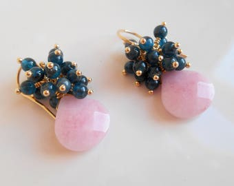 Noelle gemstone cluster earrings blush pink green blue teal dangle drop wire wrap pendant jade apatite gold fill Valentine gift idea for her