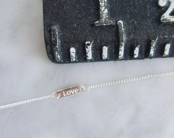 Tiny Sterling Silver Love Necklace