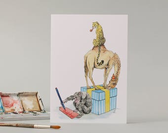 A Chimp and a Camel and a Cheetah: Hand Drawn Birthday Card