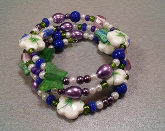 butterfly and flower wire wrap bracelet