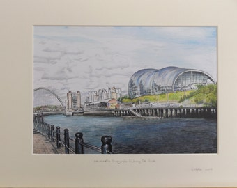 Mounted Limited Edition colour print of the Sage Auditorium, Gateshead