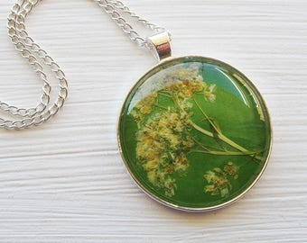 Pressed Flower Necklace - Large Yellow, Green and Silver Pressed Flower Necklace Made From Real Alyssum